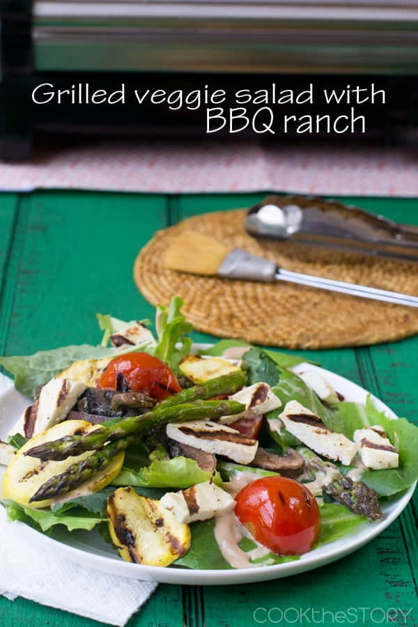Grilled veggie salad with BBQ ranch
