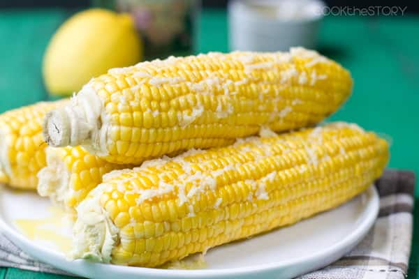 Corn on the Cob with Olive Oil, Parmesan Cheese and Lemon