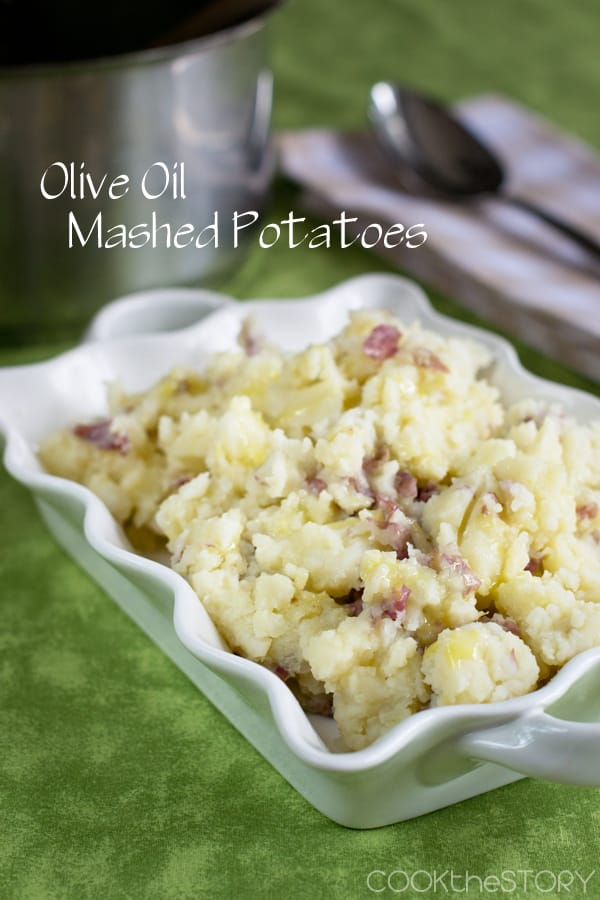 Olive Oil Mashed Potatoes use olive oil instead of butter for richness and creaminess. This recipe is easy to make and the result is sunny yellow potatoes with a subtle olive oil flavor.