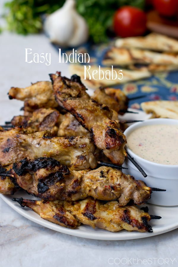 Indian-Spiced Chicken Skewers with Yogurt Dipping Sauce