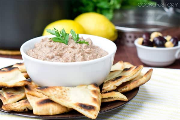 From Scratch Kalamata Hummus with Homemade Pita Chips