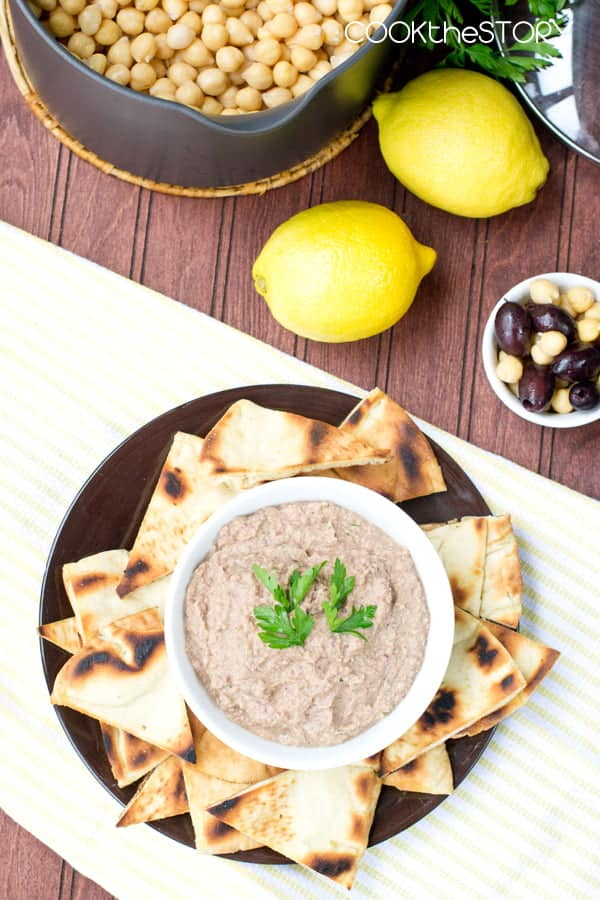 Kalamata Hummus and Homemade Pita Chips Recipe