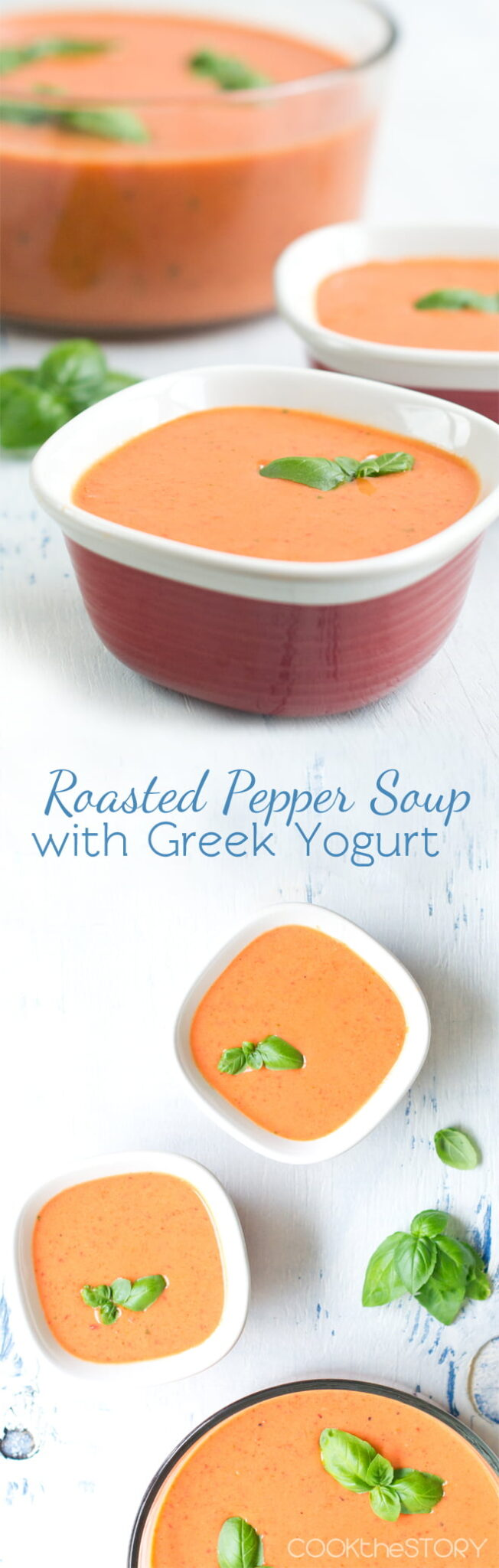 Cold Roasted Pepper Soup with Basil and Greek Yogurt by @cookthestory