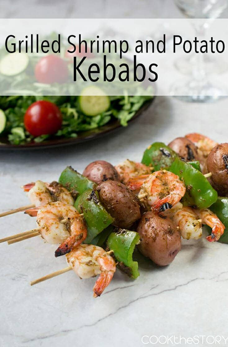 The potatoes for these strength and potato kebabs are given a Headstart in the microwave. Everything on the skimmer many cooks in the same amount of time making it into a one skewer dinner. Or two skewers. Just add salad.