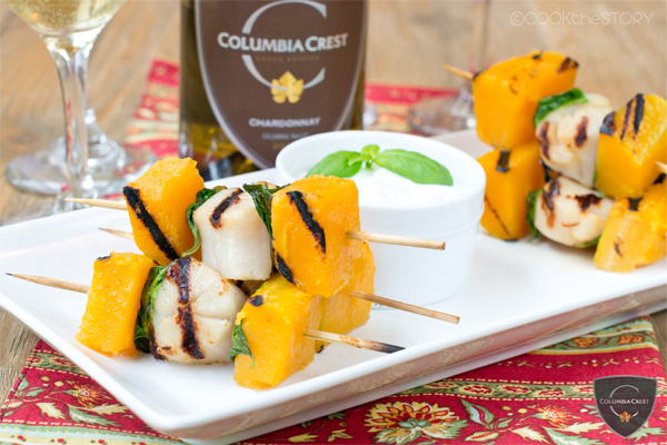 Grilled Scallops with Butternut Squash and Basil