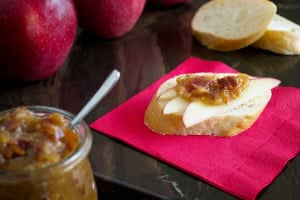Sweet Onion and Bacon Jam with Apple Slices on Bread