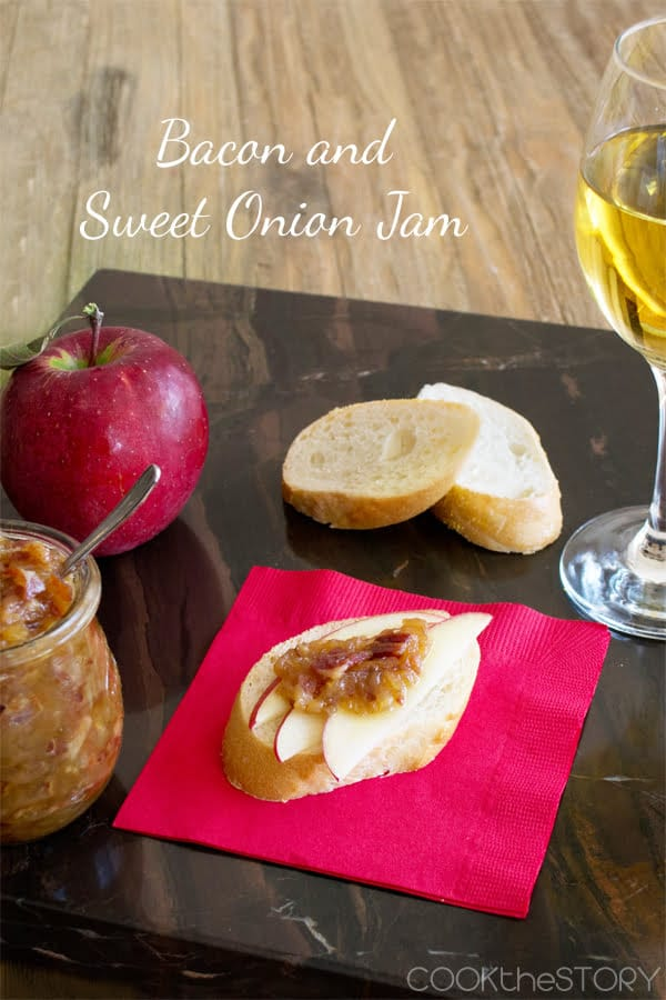 Sweet Onion and Bacon Jam with Apple Slices on Baguette