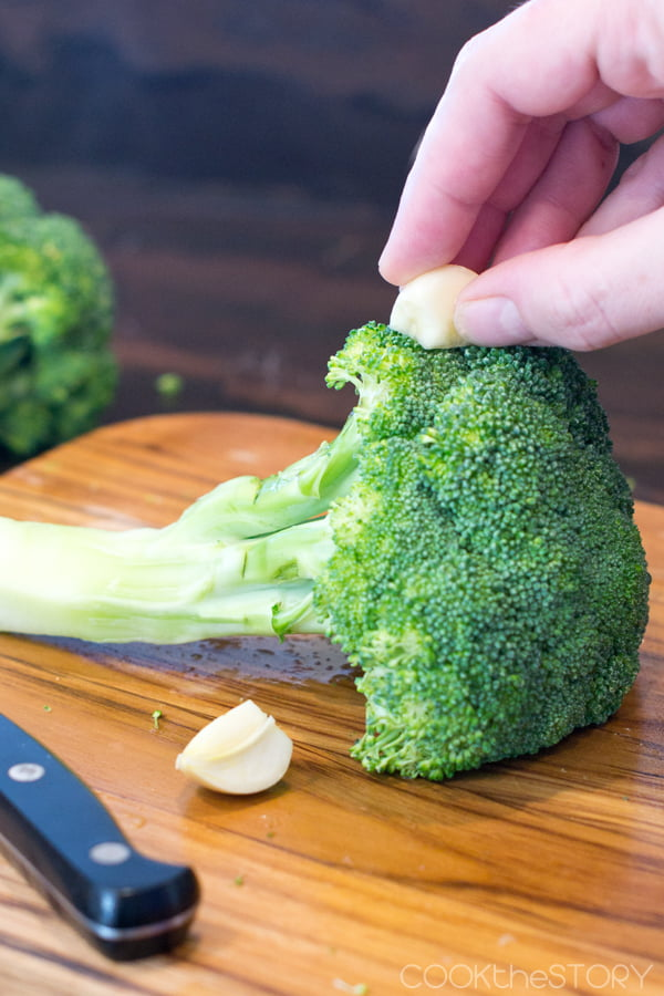 Rub the heads of the broccoli with the cut side of a garlic clove to make garlicky broccoli. Yum!