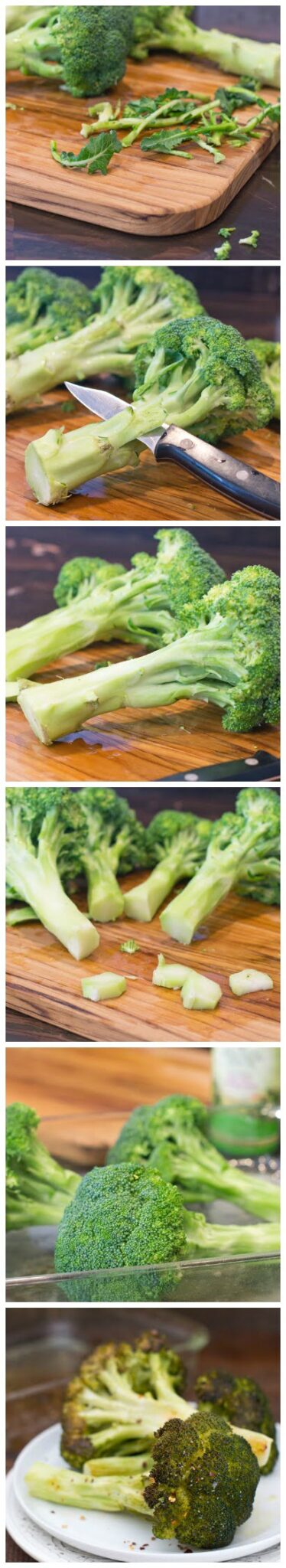 How to peel broccoli to roast it whole