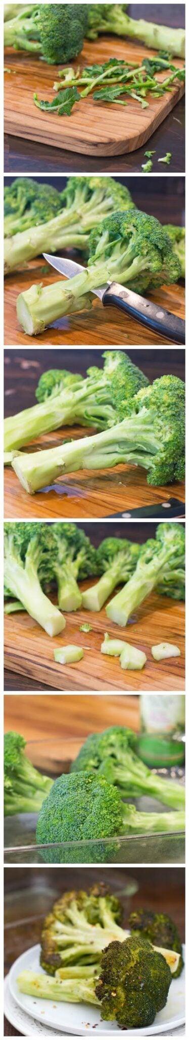 How to peel broccoli to roast it whole