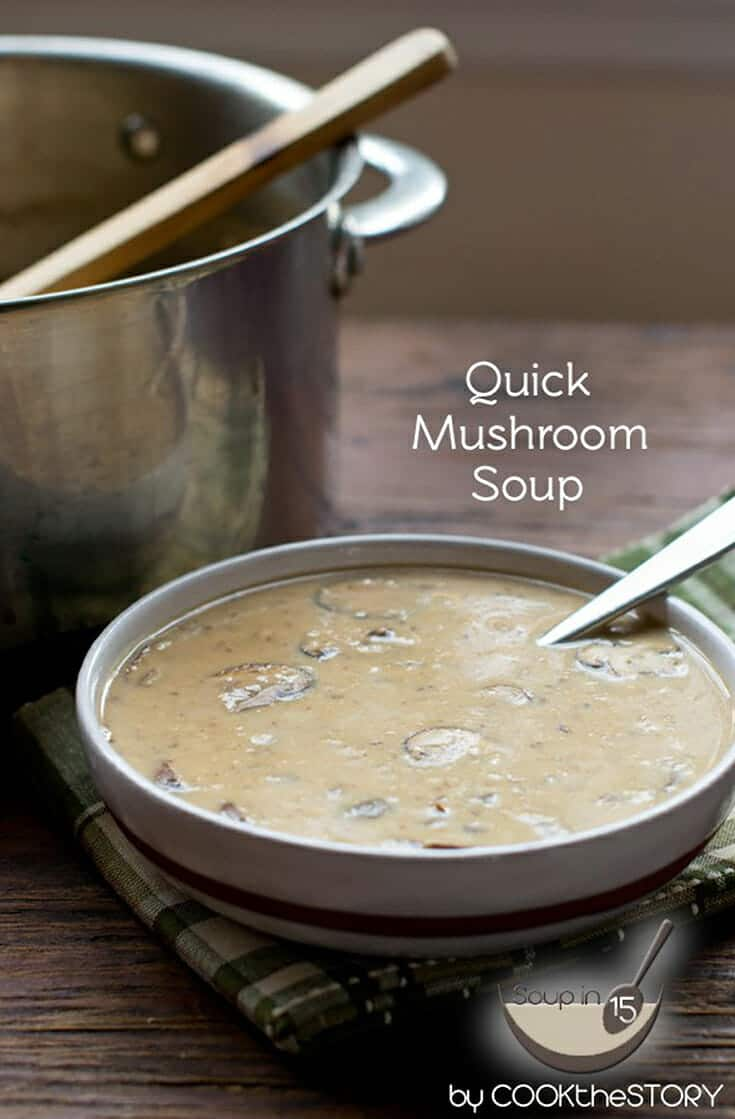 If you're looking for The best Cream of Mushroom Soup recipe, this is it. It uses fresh mushrooms and is ready in under 15 minutes. It uses butter, olive oil, and flour and is pureed in the end so it's smooth. #soup #mushroom #homemade #easy #easyrecipe