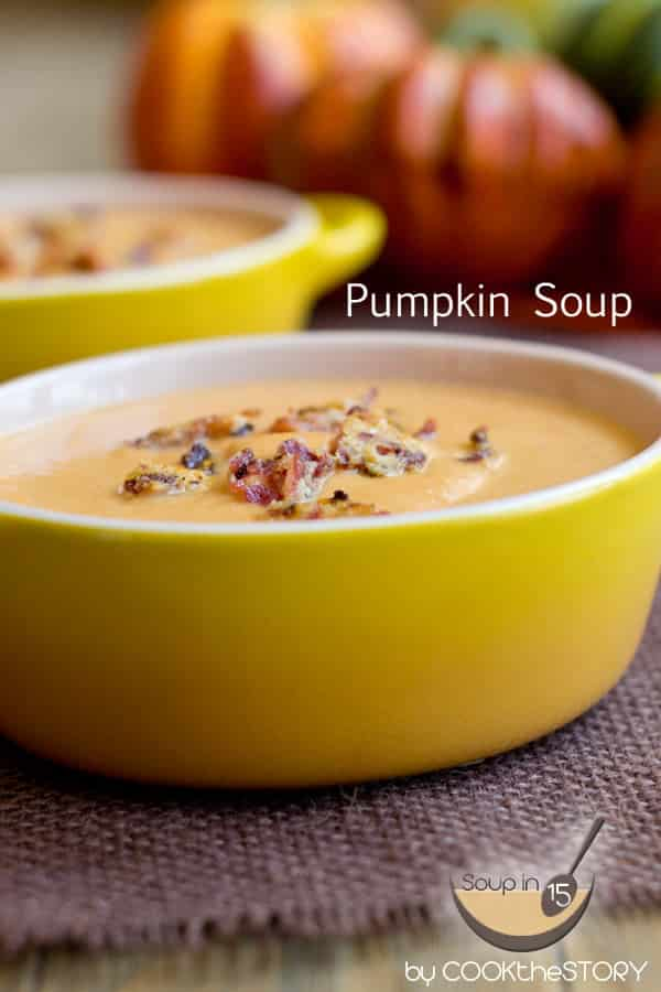 Pumpkin Soup with Bacon Parmesan Crumbles in 15 Minutes