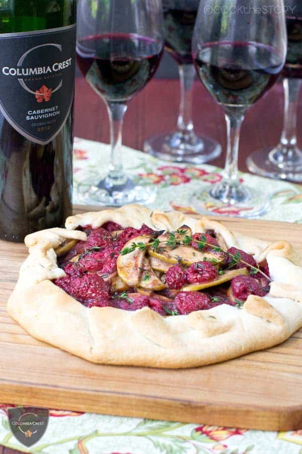 Easy Apple Tart with Raspberries, Thyme, and Wine