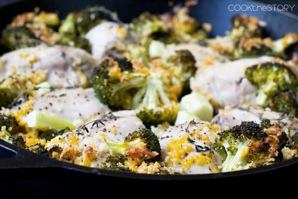 One Pan Chicken And Broccoli With Cheese And Crunchy Bread Crumbs