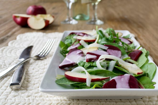 Quick Beet and Kale Salad with Apples and a Creamy Tangy Dressing
