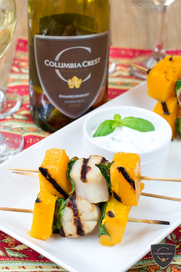 Grilled Scallops, Butternut Squash, and Basil Skewers with Garlic Dip