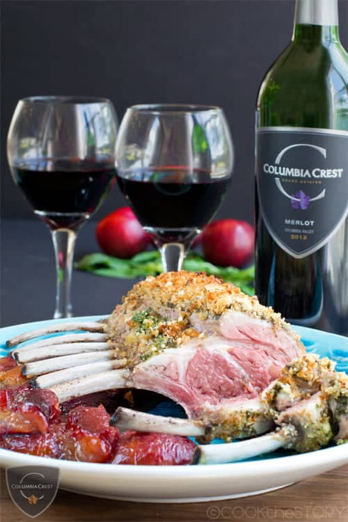Pesto-Crusted Rack of Lamb with Roasted Plums