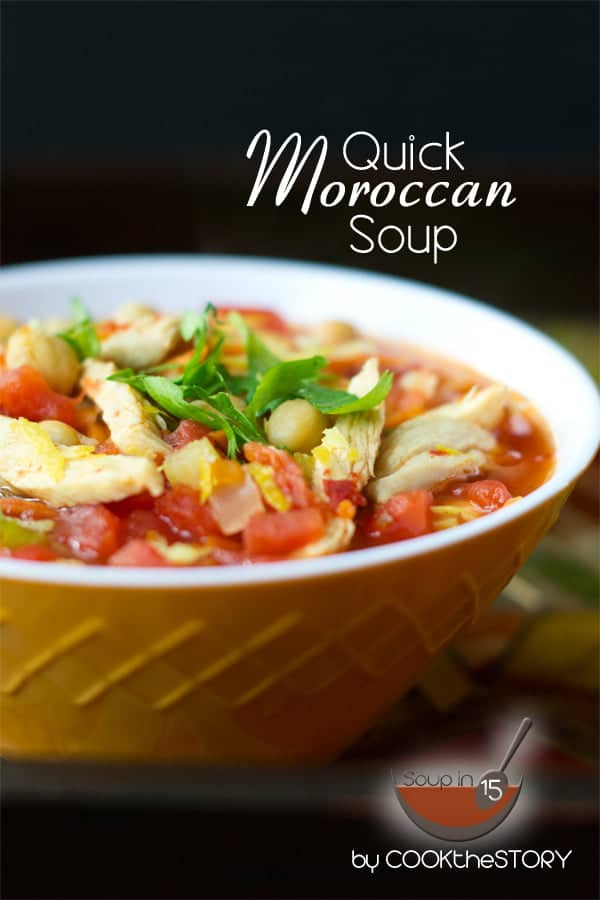 Quick Moroccan Soup with Harissa, Chickpeas, and Chicken