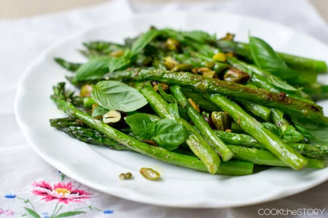 Asparagus with Basil and Pistachios