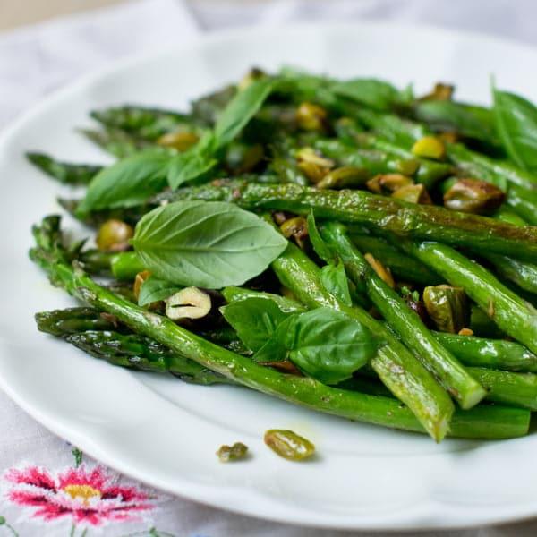 Asparagus, Basil and Pistachios