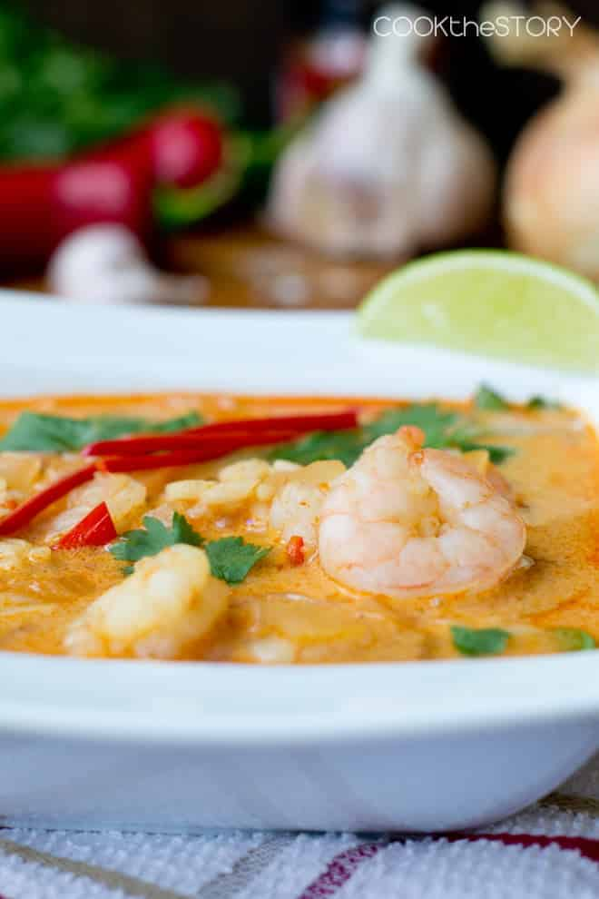 Coconut Curry Soup with Shrimp and Rice