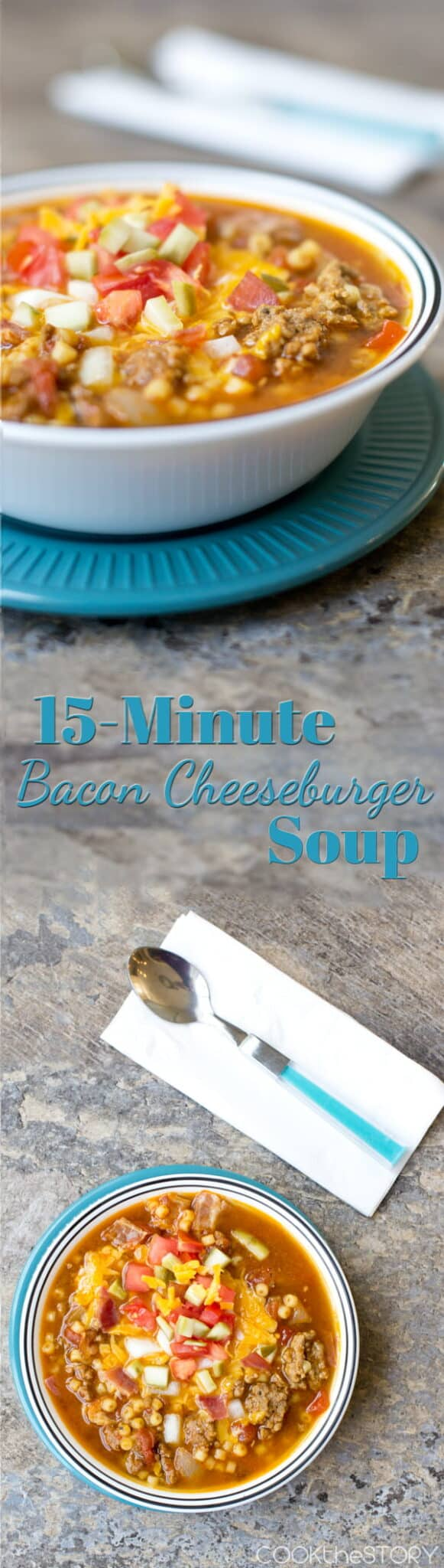 Bacon Cheeseburger Soup - This homemade soup recipe is full of flavor and can be on the table in just 15 minutes!