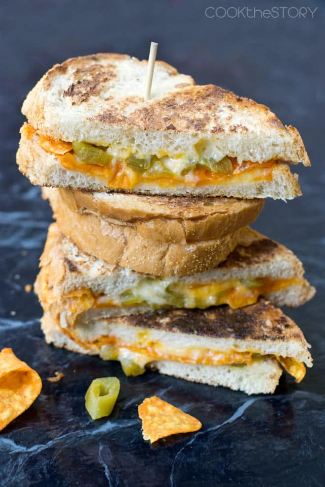 Nacho Grilled Cheese Sandwich - with the nacho chips cooked inside the sandwich!