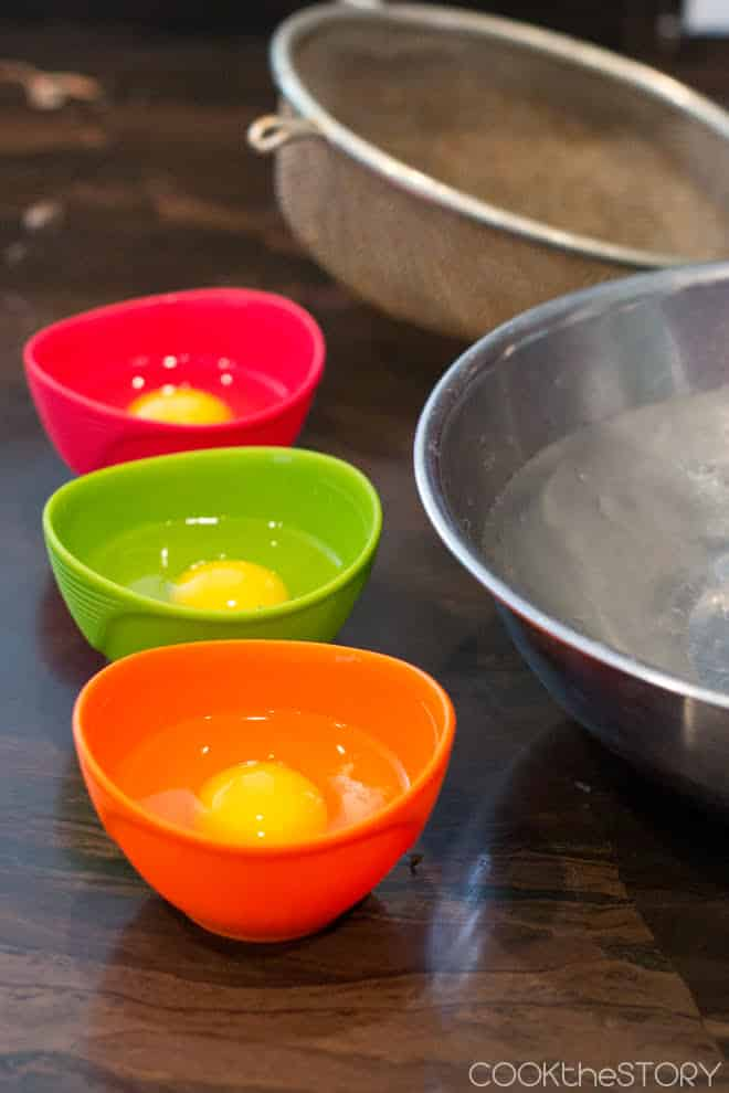 Crack the eggs into individual bowls