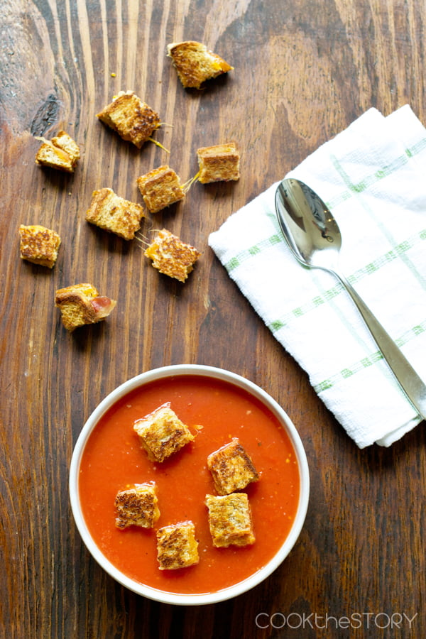 Homemade Tomato Soup with Grilled Cheese and Bacon Croutons