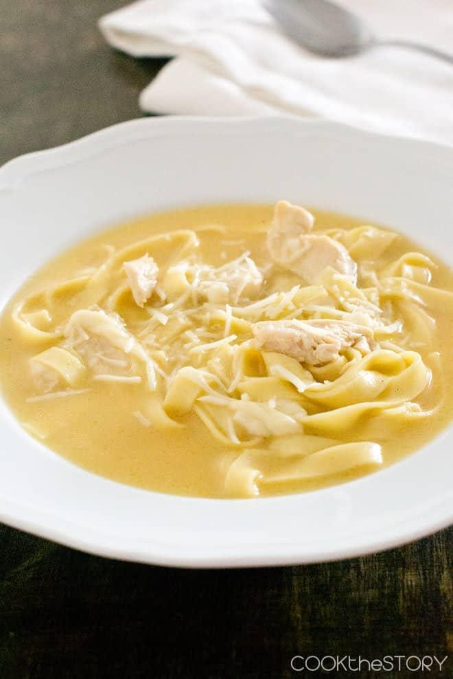 Fettuccine Alfredo Soup in 15 Minutes