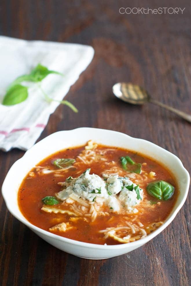Lasagna Soup with Ravioli and Ricotta Cheese