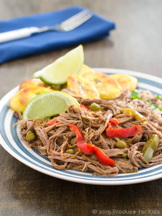Healthy Slow Cooker Ropa Vieja with Baked Plaintain Chips