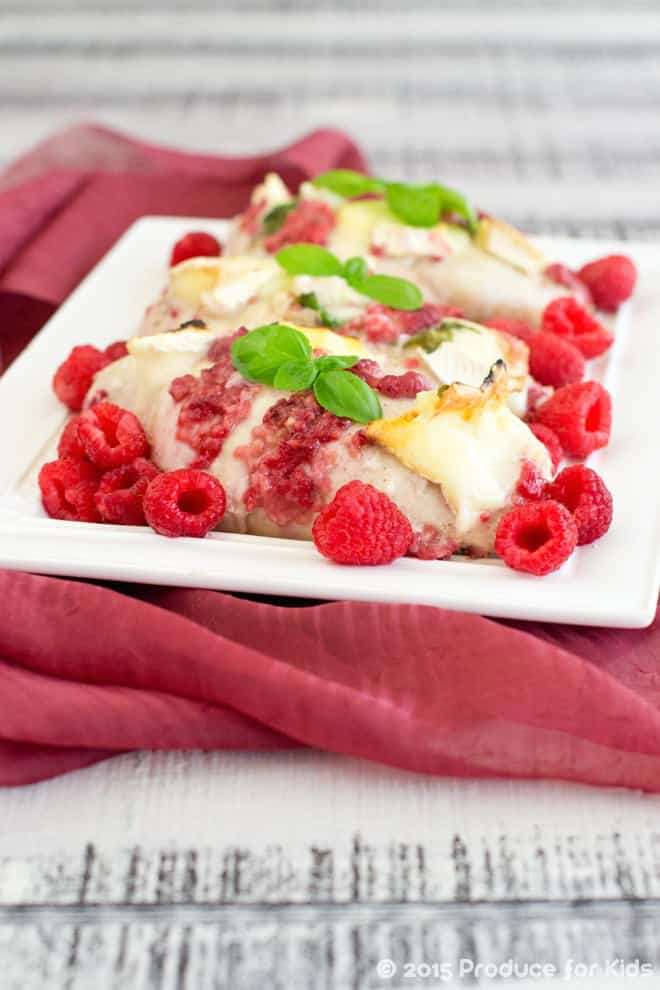 Raspberry Chicken with Brie and Basil