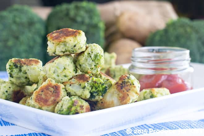 Healthy, kid-friendly side dish recipe for homemade tater tots with broccoli, from COOKtheSTORY.com