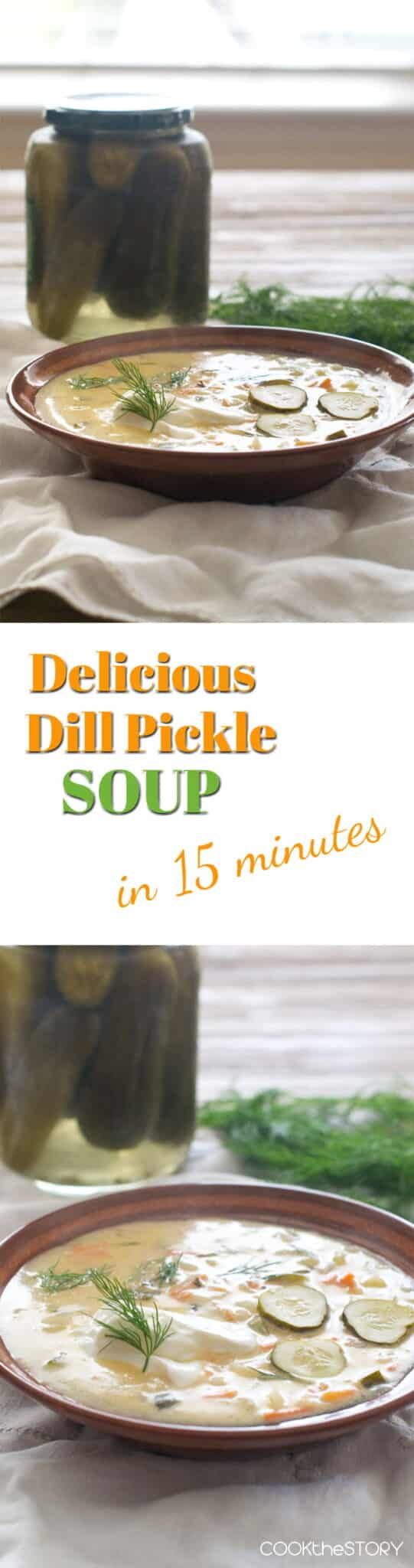 Delicious Dill Pickle Soup, homemade soup in 15 Minutes. It's like a creamy potato soup with extra salt and tang from the pickles and sour cream. So good!