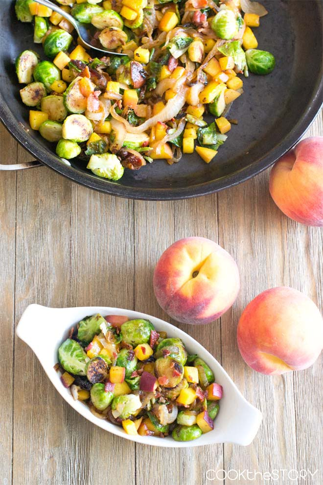 Brussels Sprouts with Peaches and Bacon