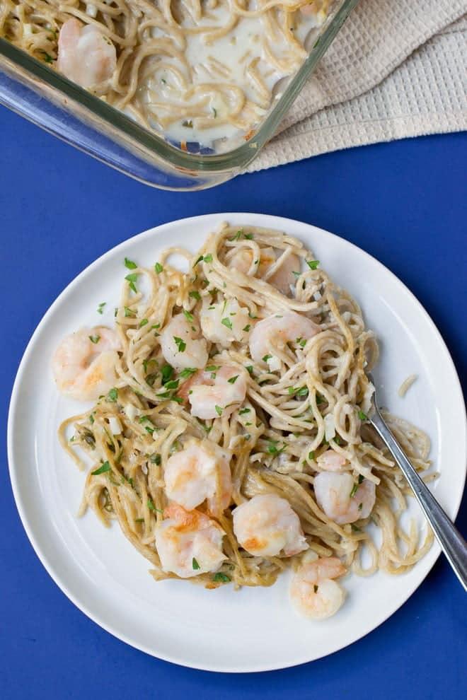 Shrimp Scampi Pasta Bake - Get the recipe from COOKtheSTORY.com