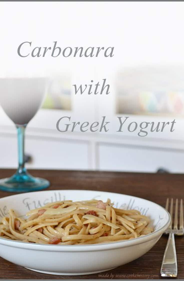 Don\'t have time to go to the store? The best thing about this recipe is that it uses ingredients that I tend to have on hand. This carbonara recipe has a Greek yogurt pasta sauce that is healthy, simple and delicious. #pasta #healthy #dinner #healthydinner
