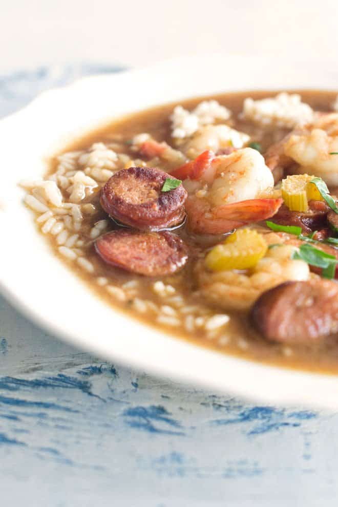 Quick Shrimp Gumbo with Andouille Sausage - Cook the Story