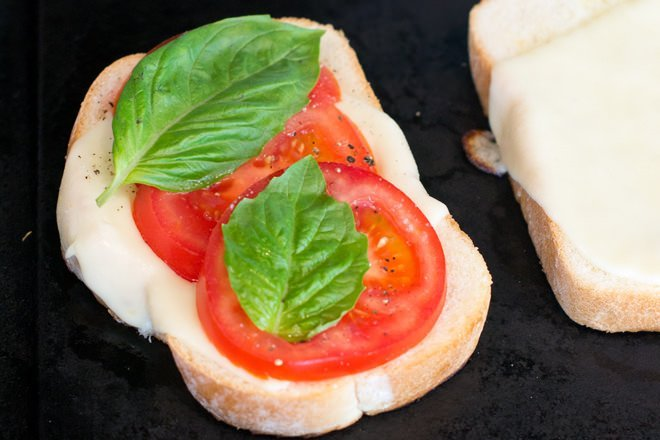 Caprese sandwich in the making