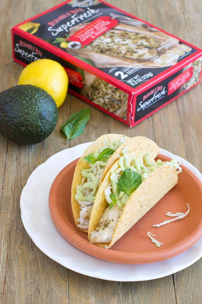 Tilapia Tacos with Basil Avocado Cream