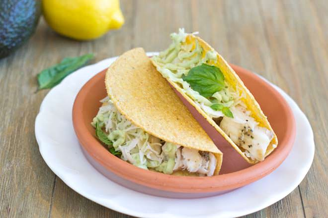 Tilapia Tacos with Basil and Avocado Cream