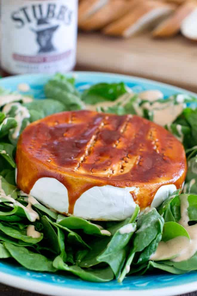 BBQ Baked Brie with Salad with Creamy BBQ Salad Dressing