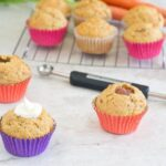 Applesauce-Filled Carrot Muffins with Greek Yogurt and Cream Cheese Frosting