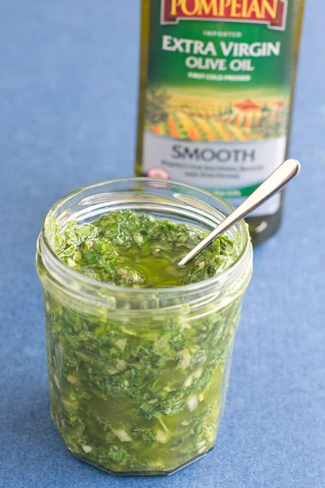 Italian Salsa Verde, a green sauce made of parsley, olive oil, garlic, capers and more.
