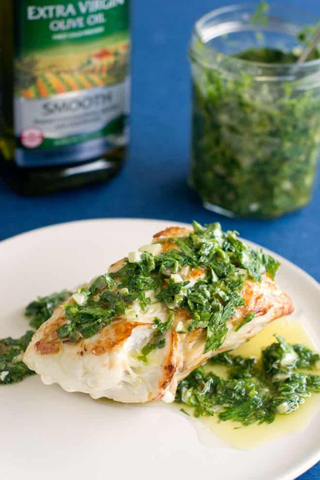 Italian Salsa Verde is a delicious parsley and olive oil based sauce with lots of bold flavors. It's delicious served as a fish sauce.