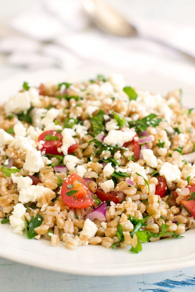Tabouleh made with farro instead of bulgur wheat