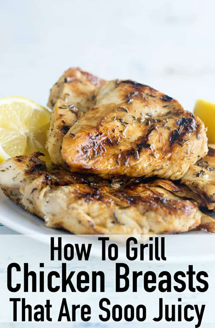 How to Grill Chicken Breast That Is So Juicy - Do you wonder how to grill chicken breast that is so juicy and never dried out? The trick is an even thickness and a marinade. You can pound out the chicken so it is even, and it takes less time to grill. You can use a gas or charcoal grill here. Perfect for a dinner on the grill. #chicken #chickenrecipe #whole30 #whole30recipe #easy #grill #summer