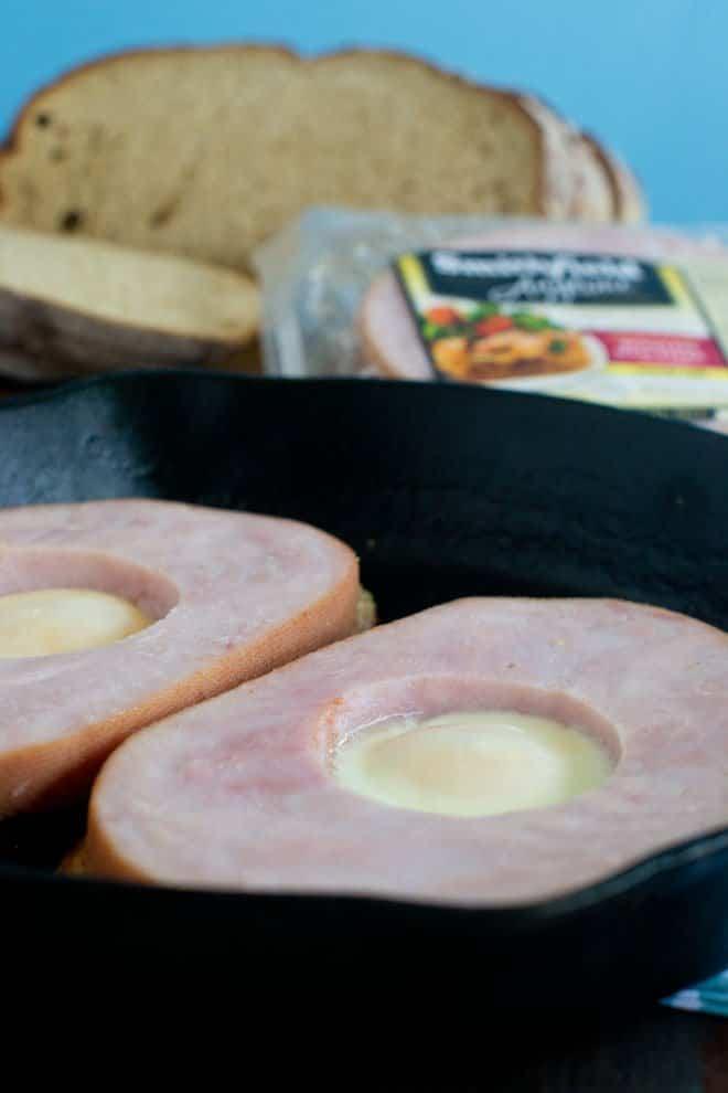 Ham Steak Egg-in-a-Hole