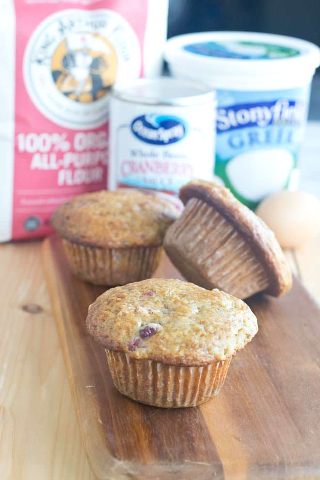 These muffins are so moist because they're made with yogurt and cranberry sauce. They're delicious too!